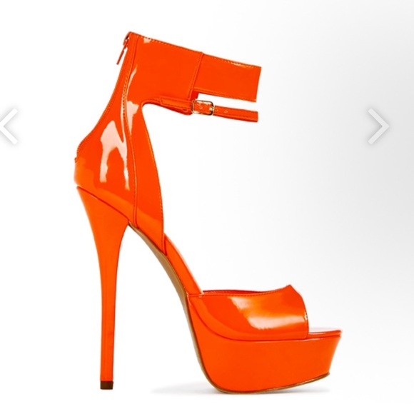 40d87ebb98 JustFab Shoes | Anyta Orange Platform Heels | Poshmark